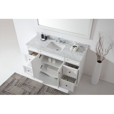 Kauffman Modern 59.1 Single Bathroom Vanity Set With White Marble and Mirror Base Finish: White, Sink Shape: Square
