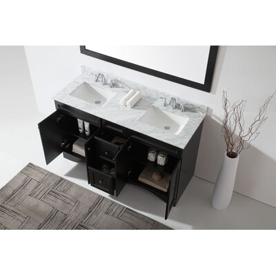 Bever 59.1 Double Bathroom Vanity Set with White Marble and Mirror Base Finish: Espresso, Sink Shape: Square, Faucet Finish: Polished Chrome
