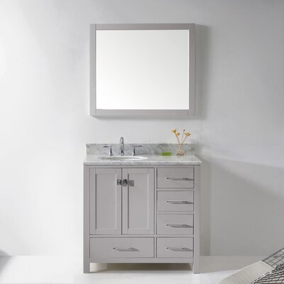 Caroline Avenue 36 Single Bathroom Vanity Set with Mirror Sink Shape: Round