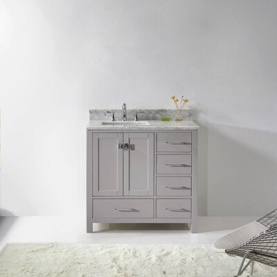 Caroline Avenue 36 Single Bathroom Vanity Set with Mirror Sink Shape: Square