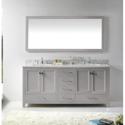 Caroline Avenue 72 Double Bathroom Vanity Set with Mirror Sink Shape: Square