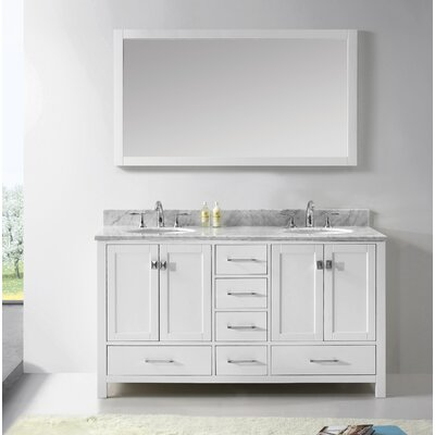 Serigne 60 Double Bathroom Vanity Set with Carrara White Top and Mirror Base Finish: White, Sink Shape: Square, Faucet Finish: Polished Chrome