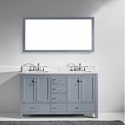 Serigne 60 Double Bathroom Vanity Set with Carrara White Top and Mirror Base Finish: Gray, Sink Shape: Square, Faucet Finish: No Faucet