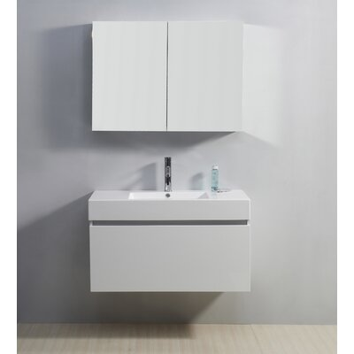 Frausto 39 Single Bathroom Vanity Set with White Top Base Finish: Gloss White