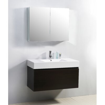 Frausto 39 Single Bathroom Vanity Set with White Top Base Finish: Wenge