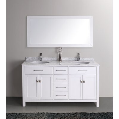 Kayleigh 60 inch double sink vanity set framed mirrors - 52 inch bathroom vanity double sink ...