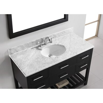 Caroline Estate 49 Single Bathroom Vanity Set with White Marble Top and Mirror Base Finish: Espresso, Sink Shape: Round, Faucet Finish: Brushed Nickel