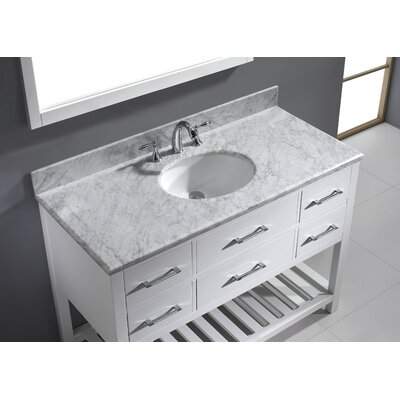 Caroline Estate 49 Single Bathroom Vanity Set with White Marble Top and Mirror Base Finish: White, Sink Shape: Round, Faucet Finish: Brushed Nickel