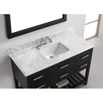 Caroline Estate 49 Single Bathroom Vanity Set with White Marble Top and Mirror Base Finish: Espresso, Sink Shape: Square, Faucet Finish: Brushed Nickel