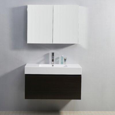 Frausto 39 Single Bathroom Vanity Set with White Top Base Finish: Wenge