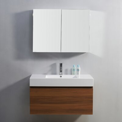 Frausto 39 Single Bathroom Vanity Set with White Top Base Finish: Cherry