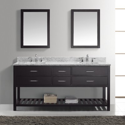 Rishaan Modern 73 Double Bathroom Vanity Set with White Marble Top and Mirror Base Finish: Gray, Sink Shape: Round, Faucet Finish: No Faucet