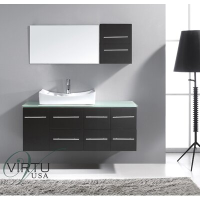 Decesare 55 Single Bathroom Vanity Set with Tempered Glass Top and Mirror Base Finish: Espresso, Faucet Finish: Polished Chrome