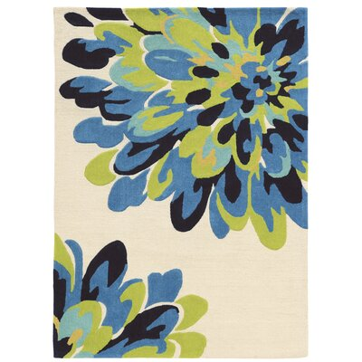West Wick Hand-Tufted Bloom Blue/Beige/Black Area Rug Rug Size: Rectangle 1'10