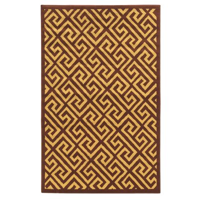 Capri Brown/Beige Greek Key Rug Rug Size: 43 x 73