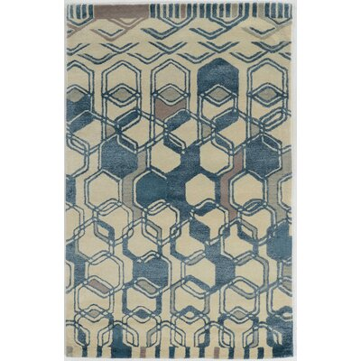 Aspire Triangle Hand-Tufted Light Blue/Cream Area Rug Rug Size: 5 x 8