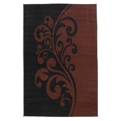 Capri Black/Rust Rug Rug Size: 43 x 73