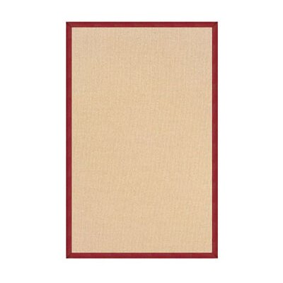 Athena Hand-Tufted Natural/Burgundy Area Rug Rug Size: 5 x 8