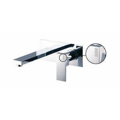 Brick Wall Mounted Bathroom Sink Faucet with Single Lever Handle Finish: Brushed Nickel