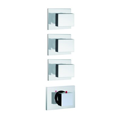 Brick Chic Built-In Thermostatic Valve Trim with Three Volume Control Handles Finish: Chrome