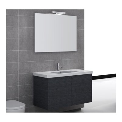 Space 39 Single Wall Mount Bathroom Vanity Set with Mirror Base Finish: Glossy White