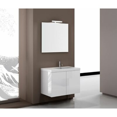 Space 32 Single Footed Bathroom Vanity Set with Mirror Base Finish: Wenge
