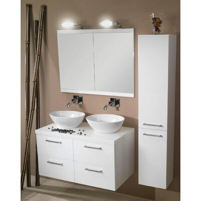 Aurora 37 Double Bathroom Vanity Set with Mirror Base Finish: Glossy White
