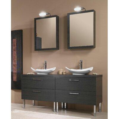 Aurora 61 Double Bathroom Vanity Set with Mirror Base Finish: Gray Oak