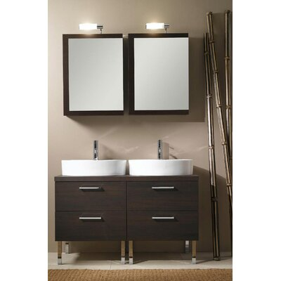 Aurora 45 Double Bathroom Vanity Set with Mirror Base Finish: Wenge