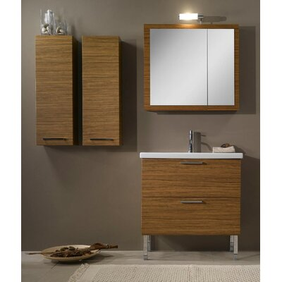 Luna 32 Single Bathroom Vanity Set with Mirror Base Finish: Teak