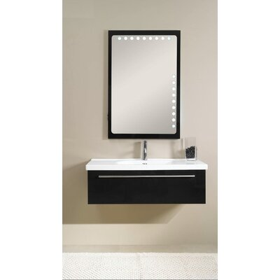Fly 40 Single Bathroom Vanity Set with Mirror Base Finish: Glossy Black