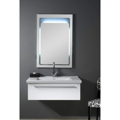 Fly 36 Single Bathroom Vanity Set with Mirror Base Finish: Glossy White