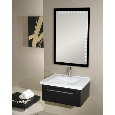 Fly 29 Single Bathroom Vanity Set with Mirror Base Finish: Glossy Black
