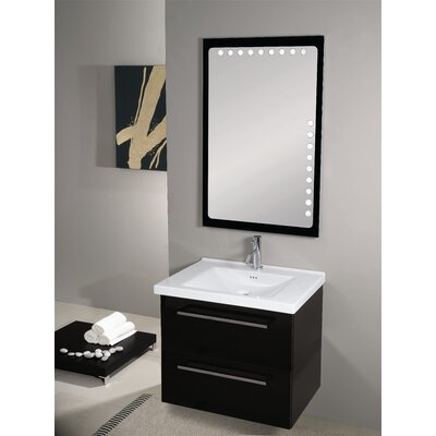 Fly 29 Single Wall Mounted Bathroom Vanity Set with Mirror Base Finish: Glossy Black