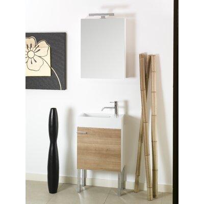 Lola 21 Single Wall Mounted Bathroom Vanity Set with Mirror Base Finish: Natural Oak