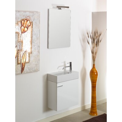Lola 21 Single Wall Mounted Bathroom Vanity Set with Mirror Base Finish: Natural Oak