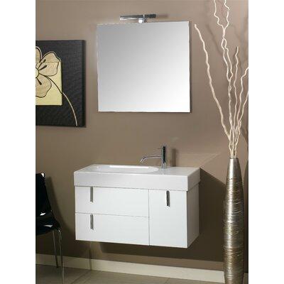 Enjoy 35 Single Wall Mounted Bathroom Vanity Set with Mirror Base Finish: Glossy Black