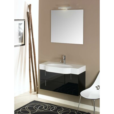 Enjoy 35 Single Wall Mounted Bathroom Vanity Set with Mirror Base Finish: Glossy Gray