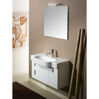 Enjoy NE4 35 Single Wall Mounted Bathroom Vanity Set with Mirror Base Finish: Glossy White