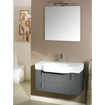 Enjoy 35 Single Wall Mounted Bathroom Vanity Set with Mirror Base Finish: Glossy White