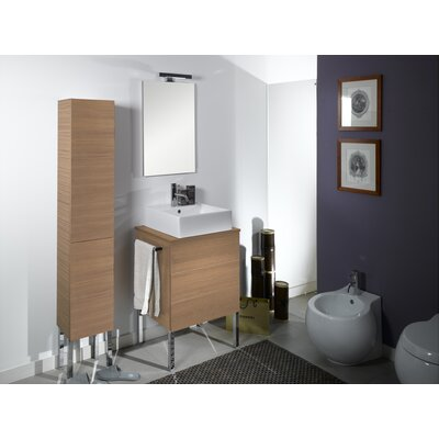 Time 24 Single Wall Mounted Bathroom Vanity Set with Mirror Base Finish: Natural Oak