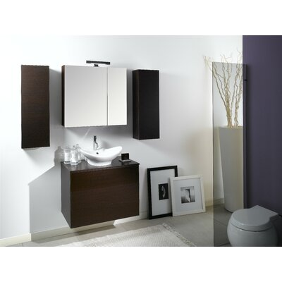 Time 32 Single Wall Mounted Bathroom Vanity Set with Mirror Base Finish: Wenge