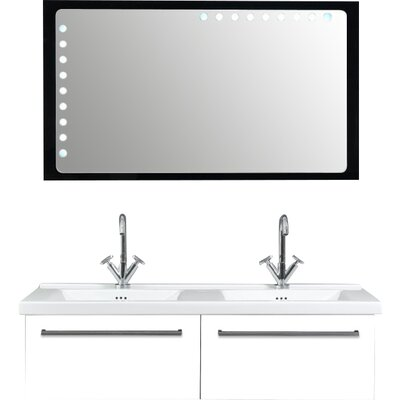 Fly 49 Double Bathroom Vanity Set with Mirror Base Finish: Glossy White