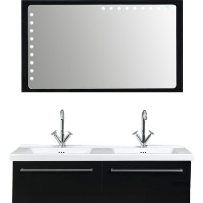 Fly 49 Double Bathroom Vanity Set with Mirror Base Finish: Glossy Black
