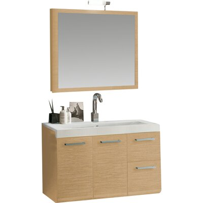 Linear 38 Single Wall Mounted Bathroom Vanity Set with Mirror Base Finish: Natural Oak