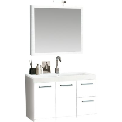 Linear 38 Single Wall Mounted Bathroom Vanity Set with Mirror Base Finish: Glossy White