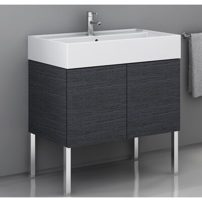 Smile 32 Single Bathroom Vanity Set Base Finish: Gray Oak