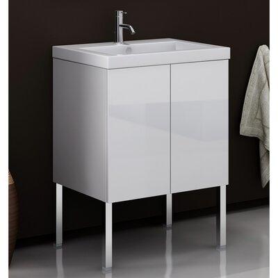 Space 24 Single Bathroom Vanity Set Base Finish: Glossy White