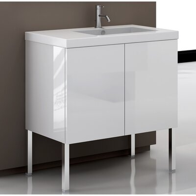Space 32 Single Bathroom Vanity Set Base Finish: Wenge