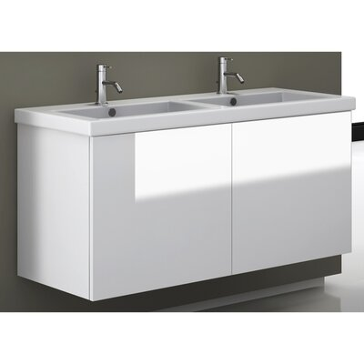 Space 47 Double Bathroom Vanity Set Base Finish: Glossy White